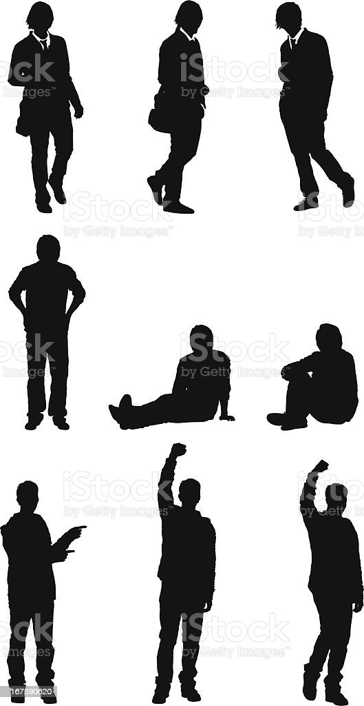 College student in different poses vector art illustration