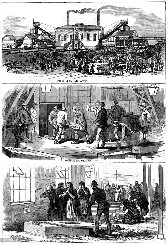 Colliery mining disaster 1877 - The Illustrated London News royalty-free stock vector art
