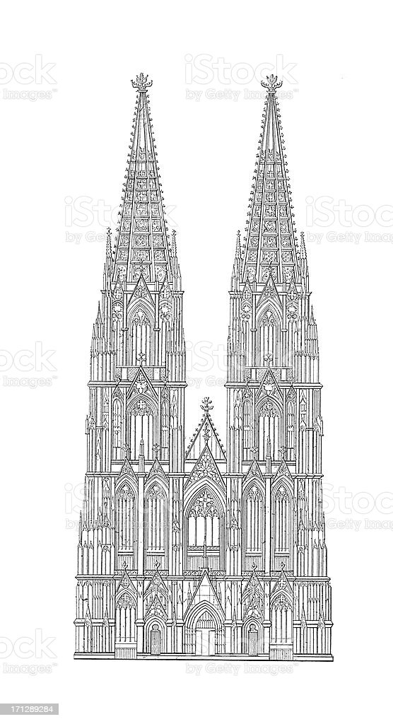 Cologne Cathedral, Germany   Antique Architectural Illustrations vector art illustration
