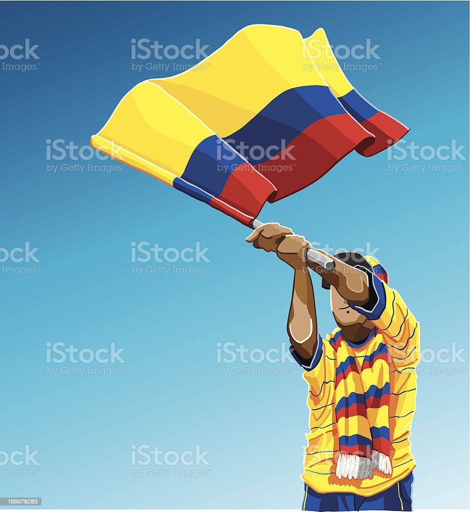 Colombia Waving Flag Soccer Fan royalty-free stock vector art