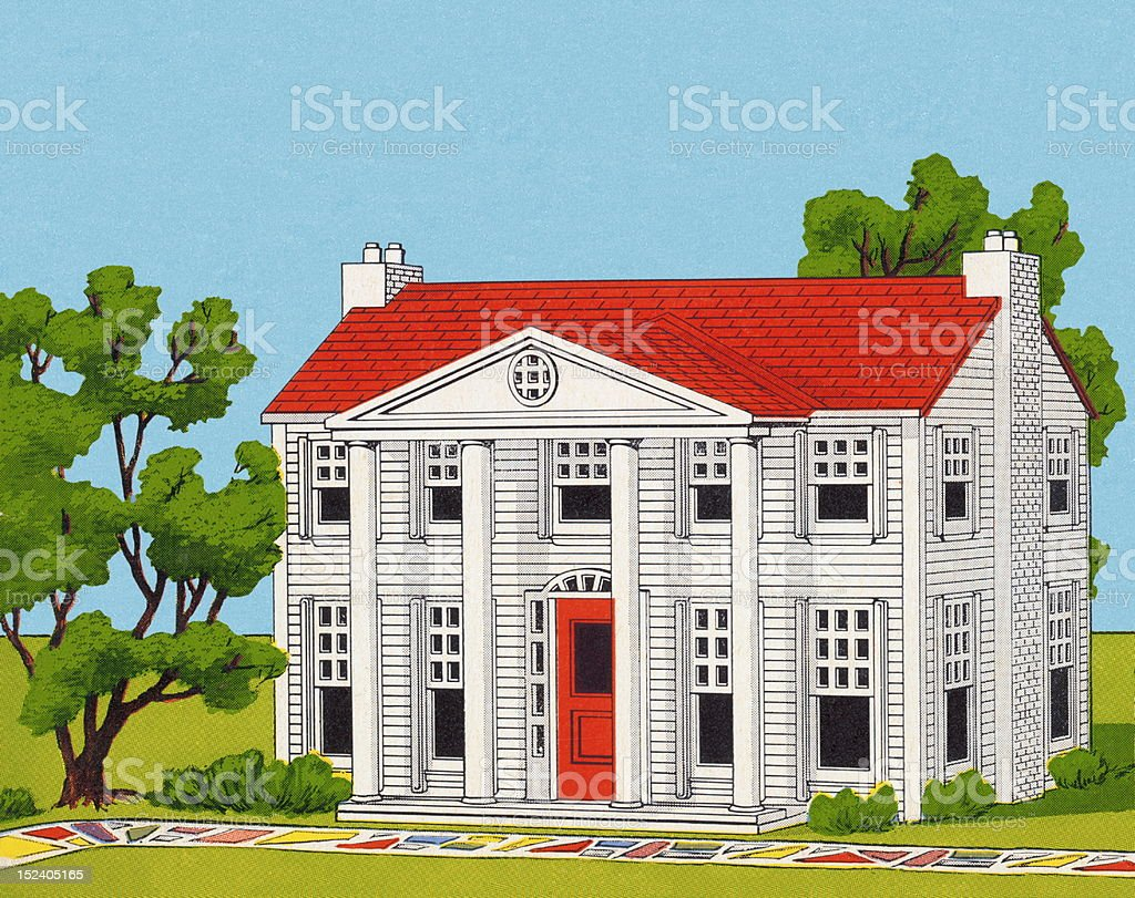 Colonial House royalty-free stock vector art