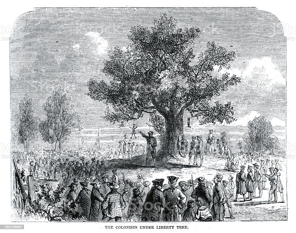 Colonists under the Liberty Tree vector art illustration