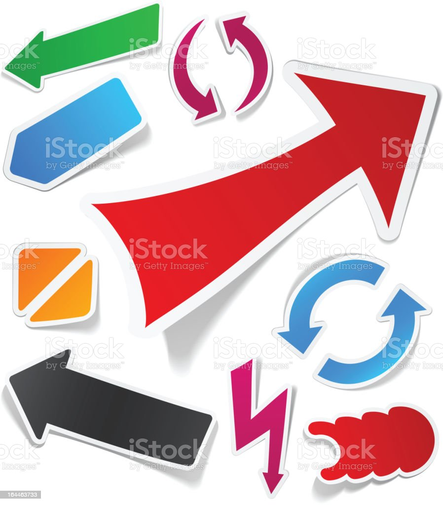 Color arrows sticker set. royalty-free stock vector art