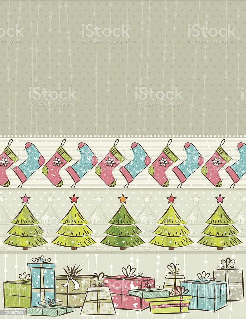 color background with christmas presents,trees,socks royalty-free stock vector art