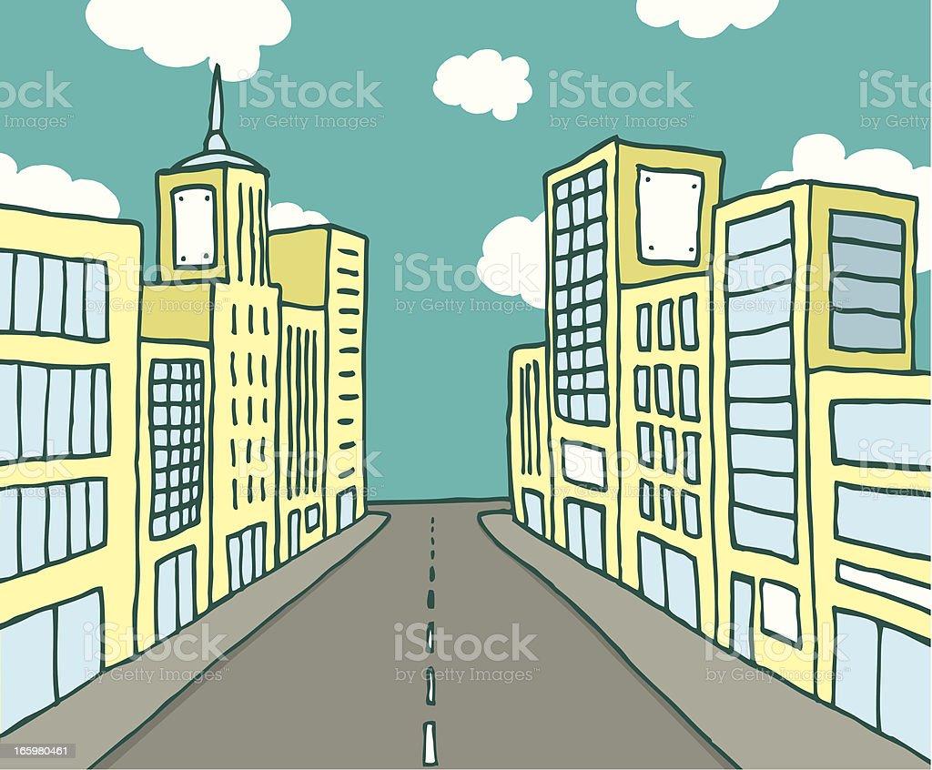Color cartoon line city royalty-free stock vector art