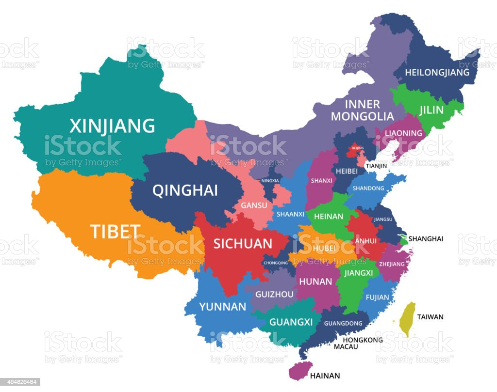A color coded map of China, organized by city vector art illustration