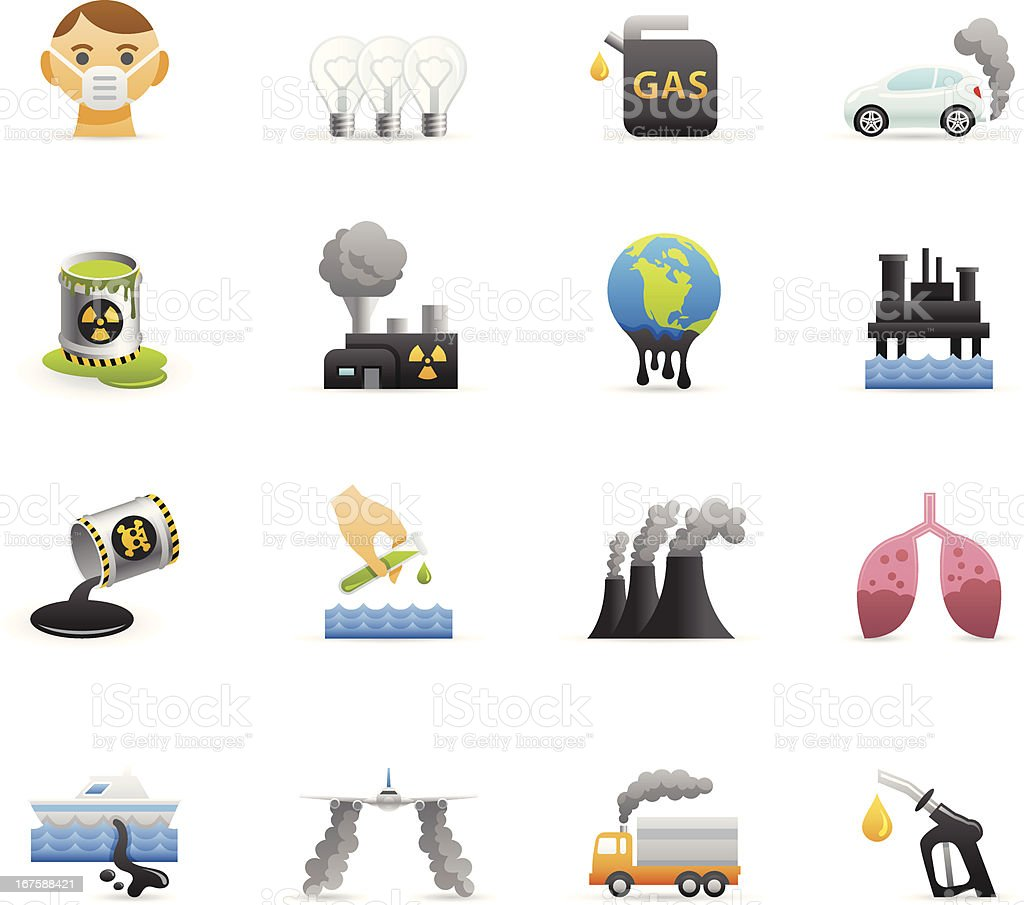 Color Icons - Pollution vector art illustration