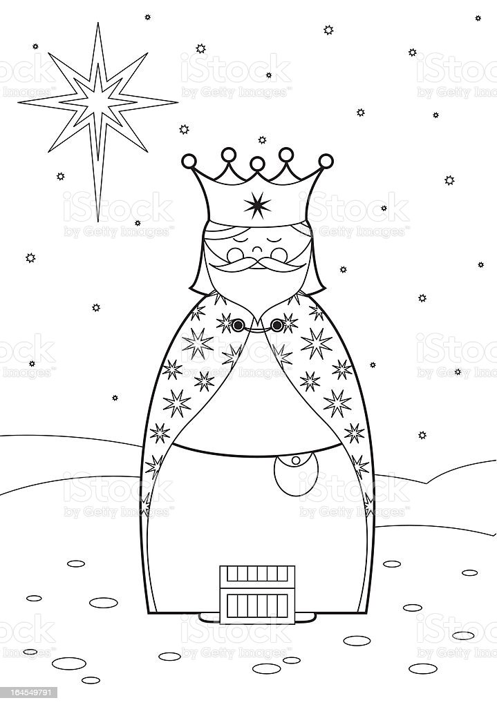 Color In Nativity King royalty-free stock vector art