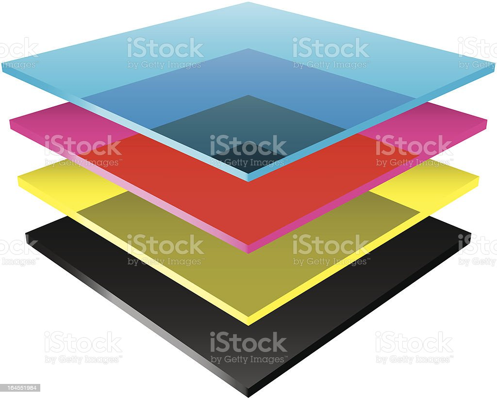 CMYK color layers vector art illustration
