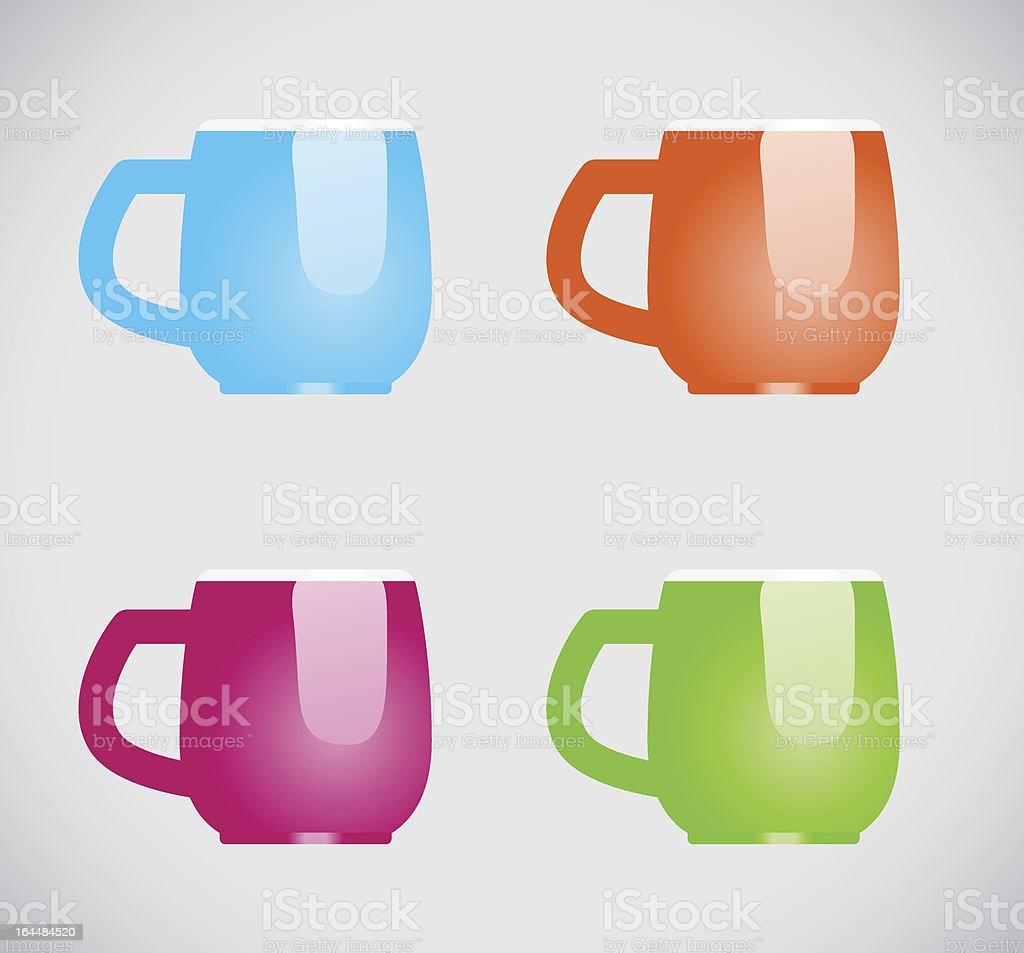 Color mugs royalty-free stock vector art