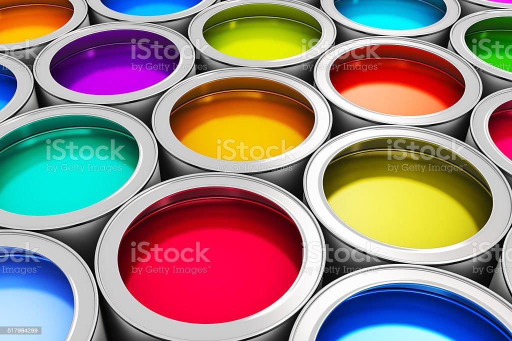 Color paint cans vector art illustration
