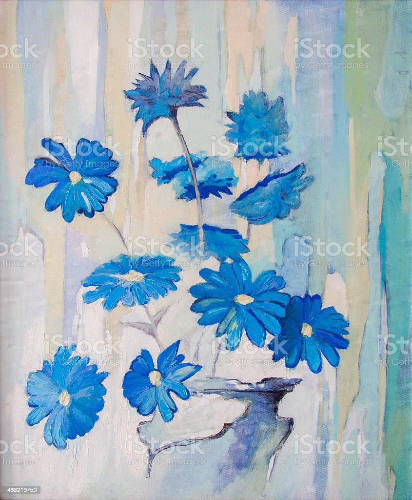 Color palette and bouquet of blue flowers. vector art illustration