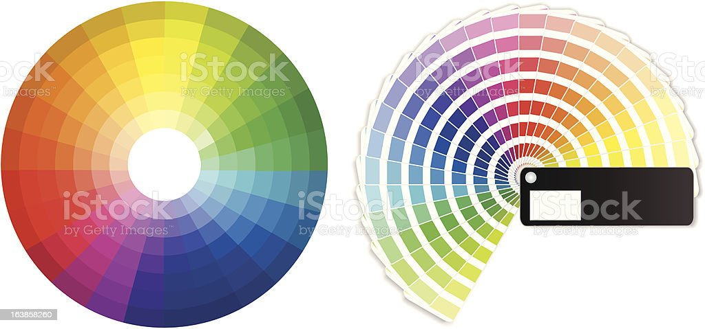 Color wheels vector art illustration