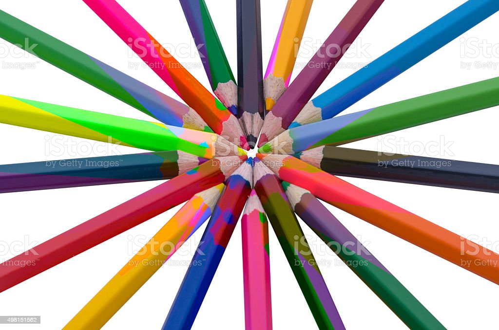 Kolor drewniane ołówki na białym tle stockowa ilustracja wektorowa royalty-free