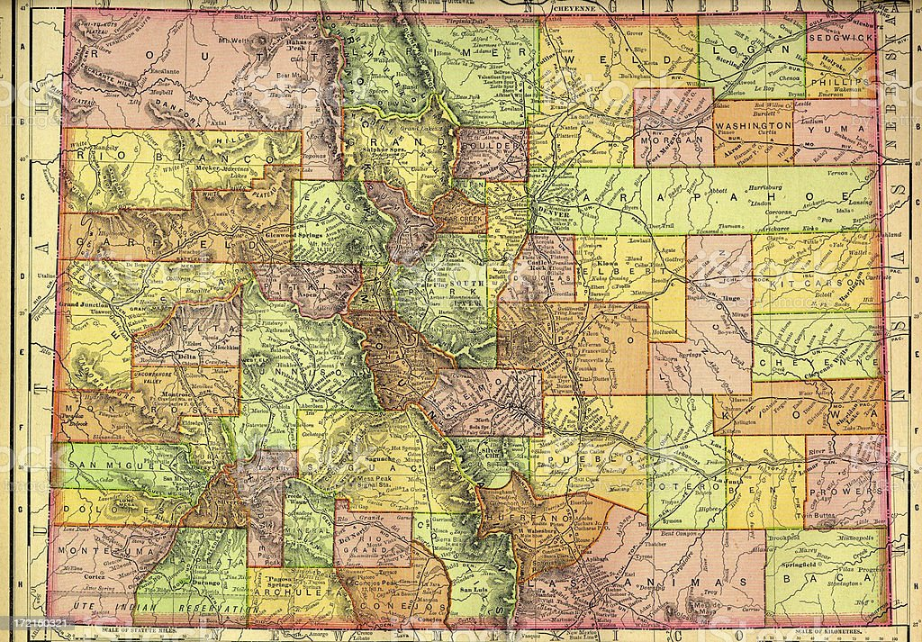 Colorado Old Map vector art illustration