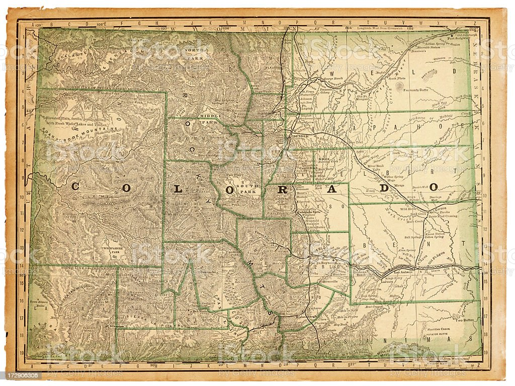 Colorado Old Map vector art illustration