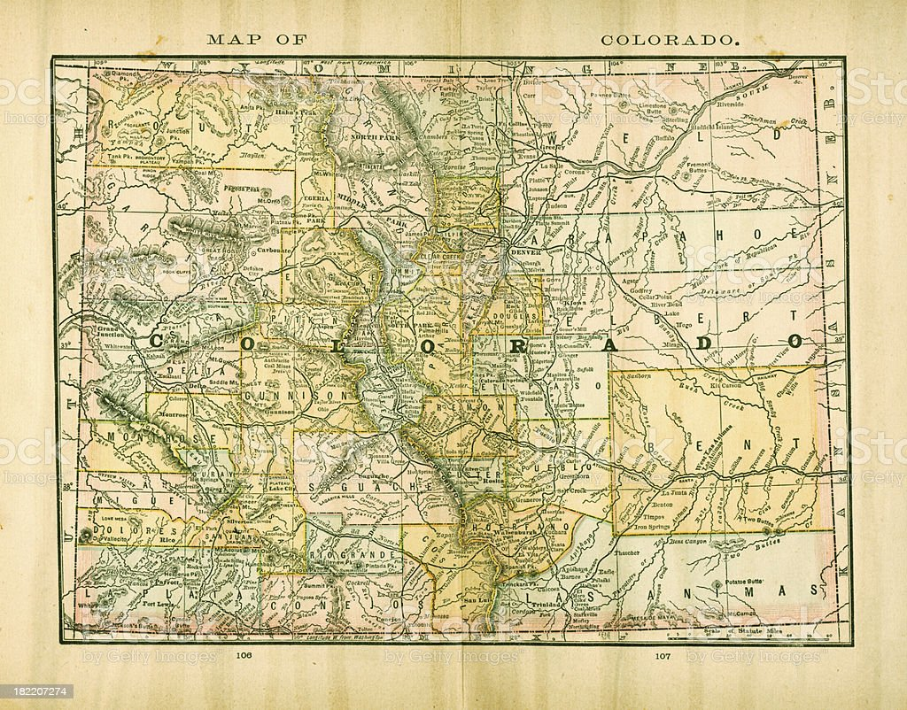 Colorado   USA Antique Maps High Resolution vector art illustration