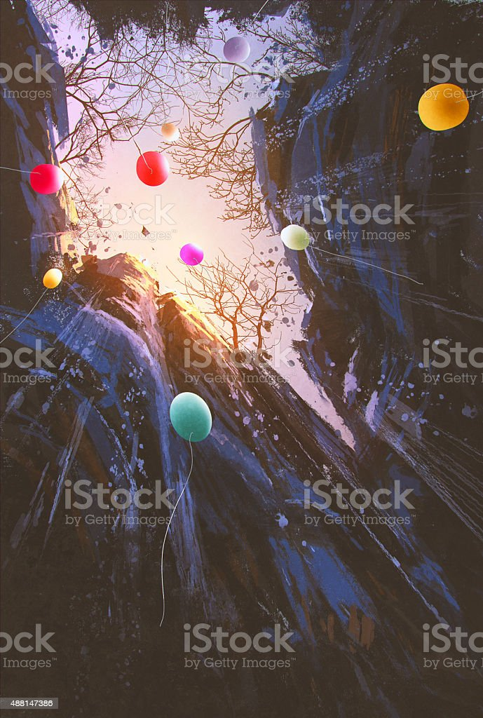 colored balloons floating into the sky surrounded by the cliffs vector art illustration