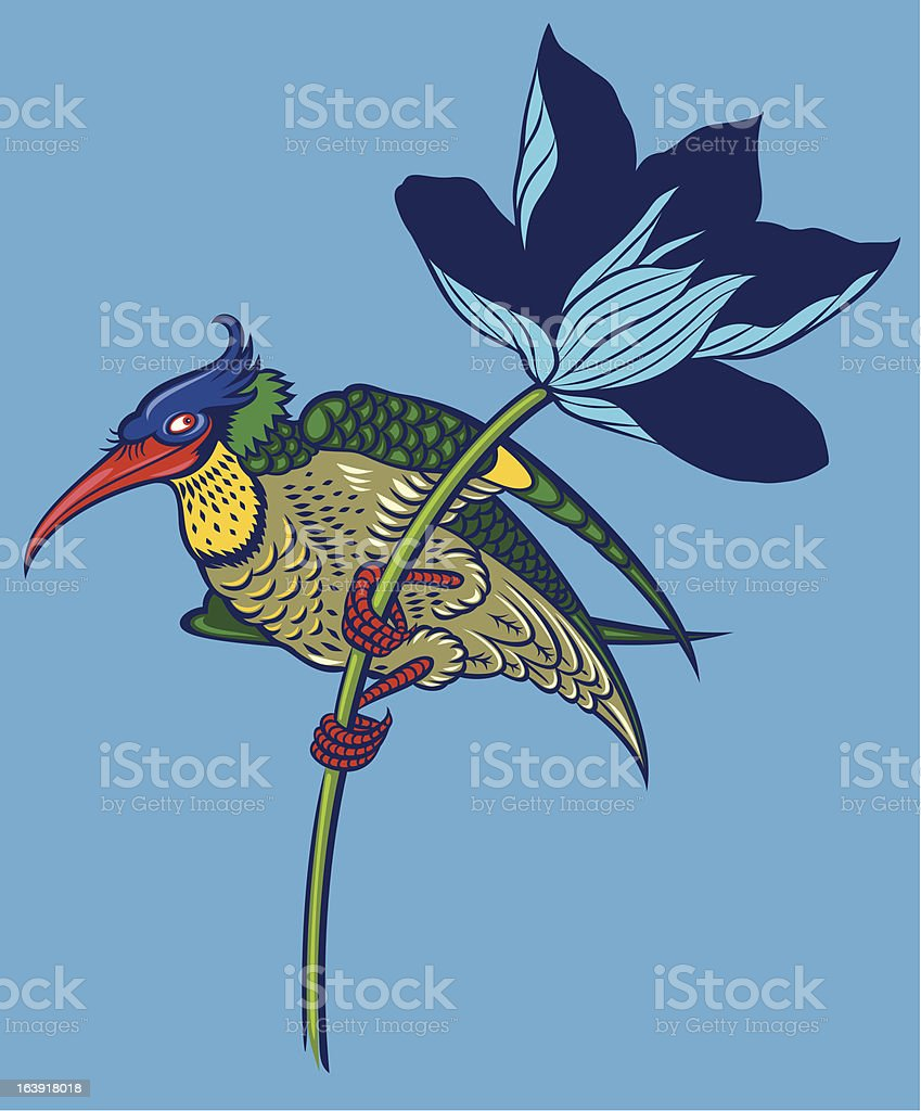 colored bird in magnolia royalty-free stock vector art
