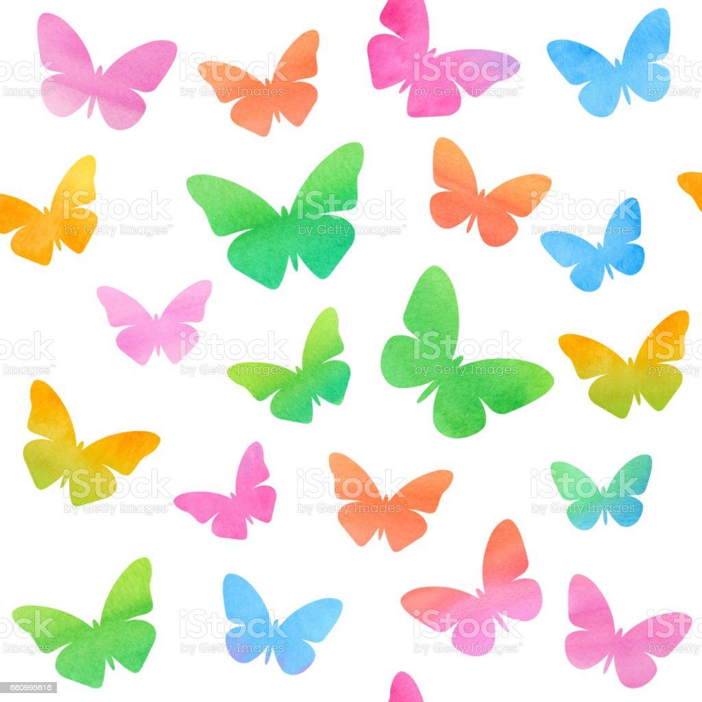 Colored Butterflies in watercolor vector art illustration