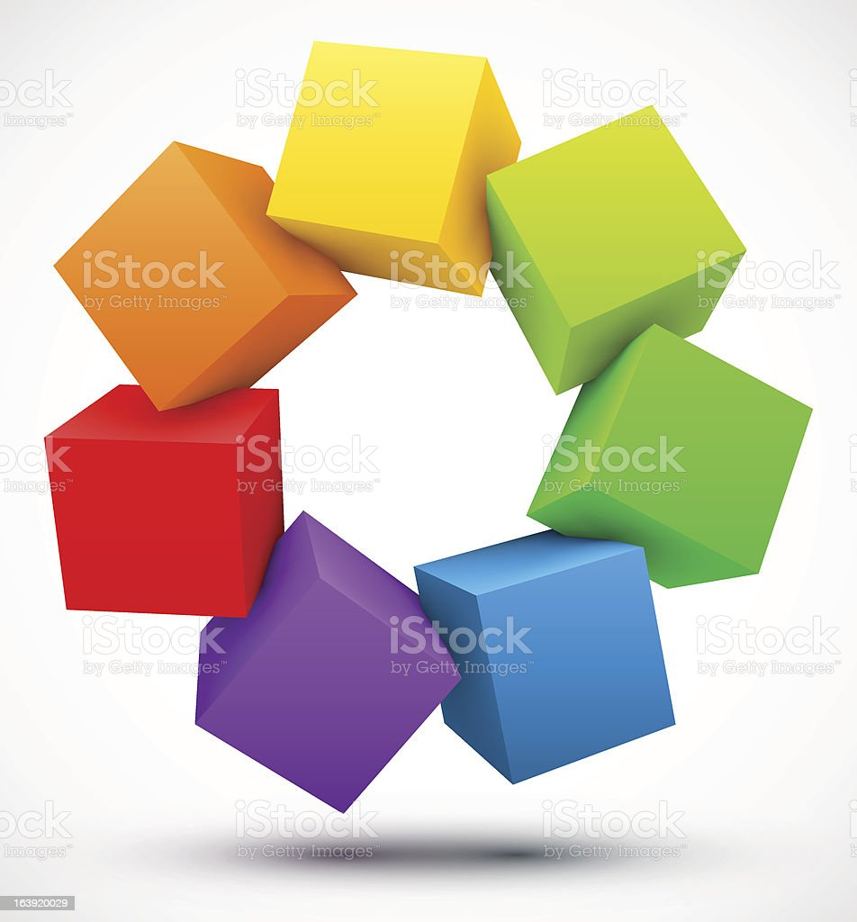 Colored cubes 3D royalty-free stock vector art