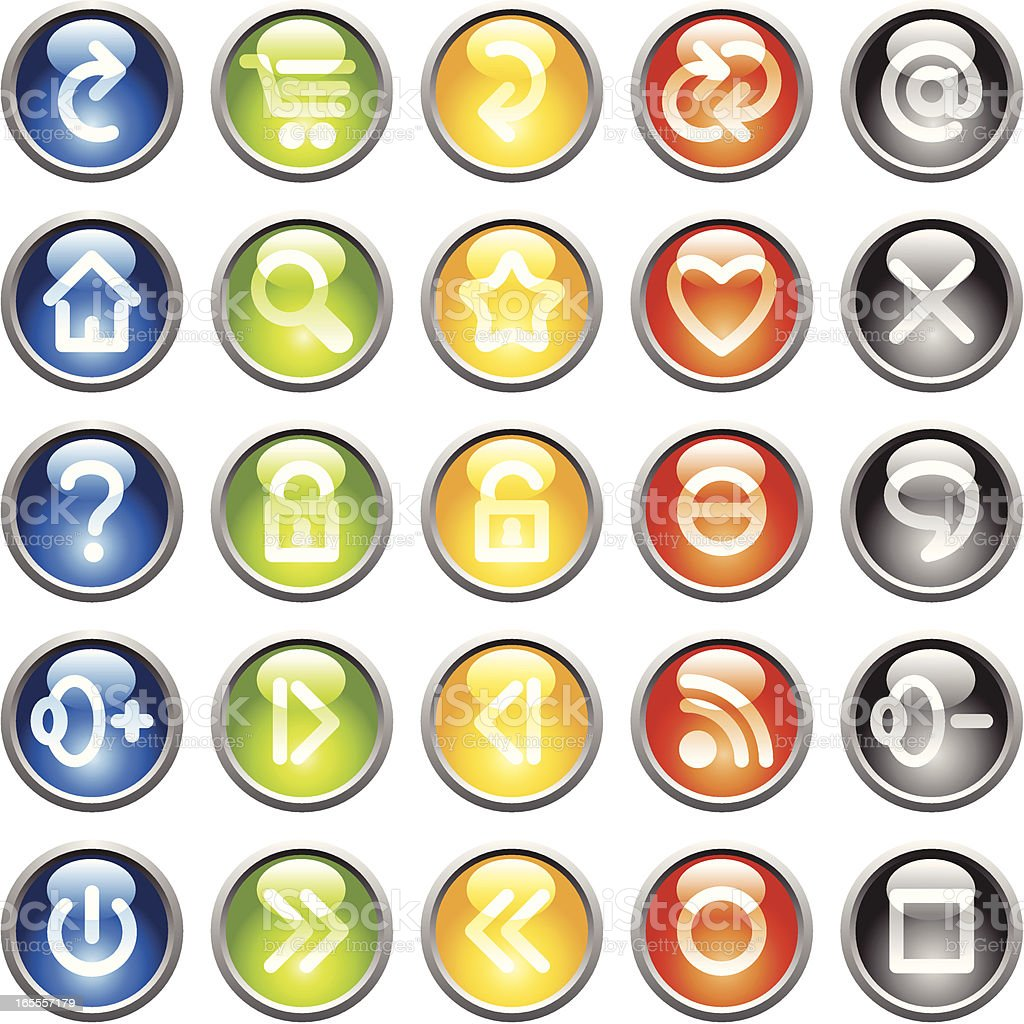 Colored icon buttons royalty-free stock vector art
