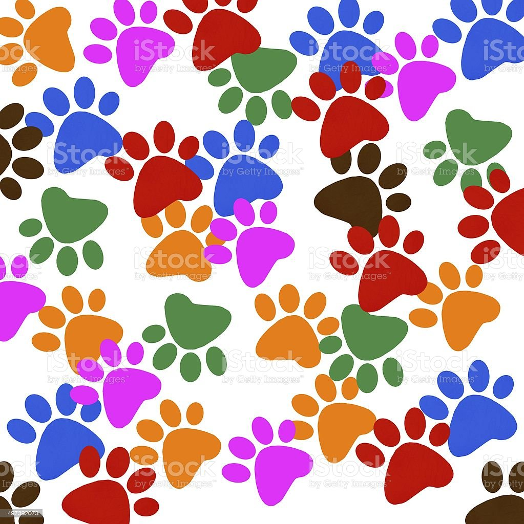 Colored pawprints frame  on white background royalty-free stock vector art