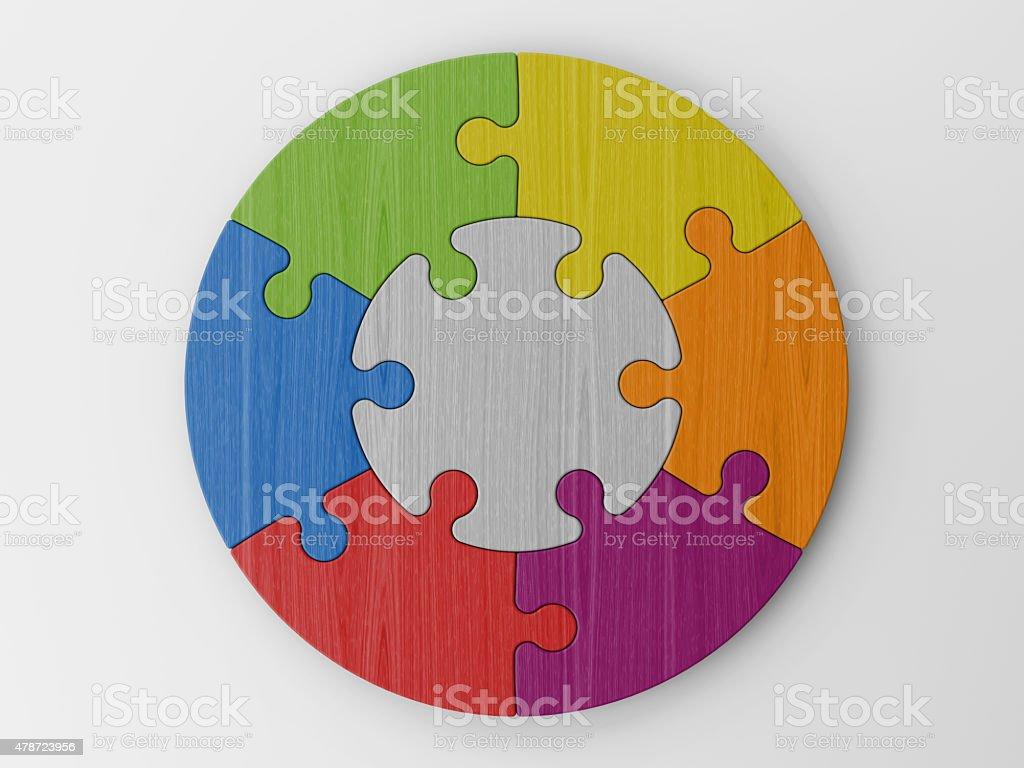 colored puzzle pieces vector art illustration