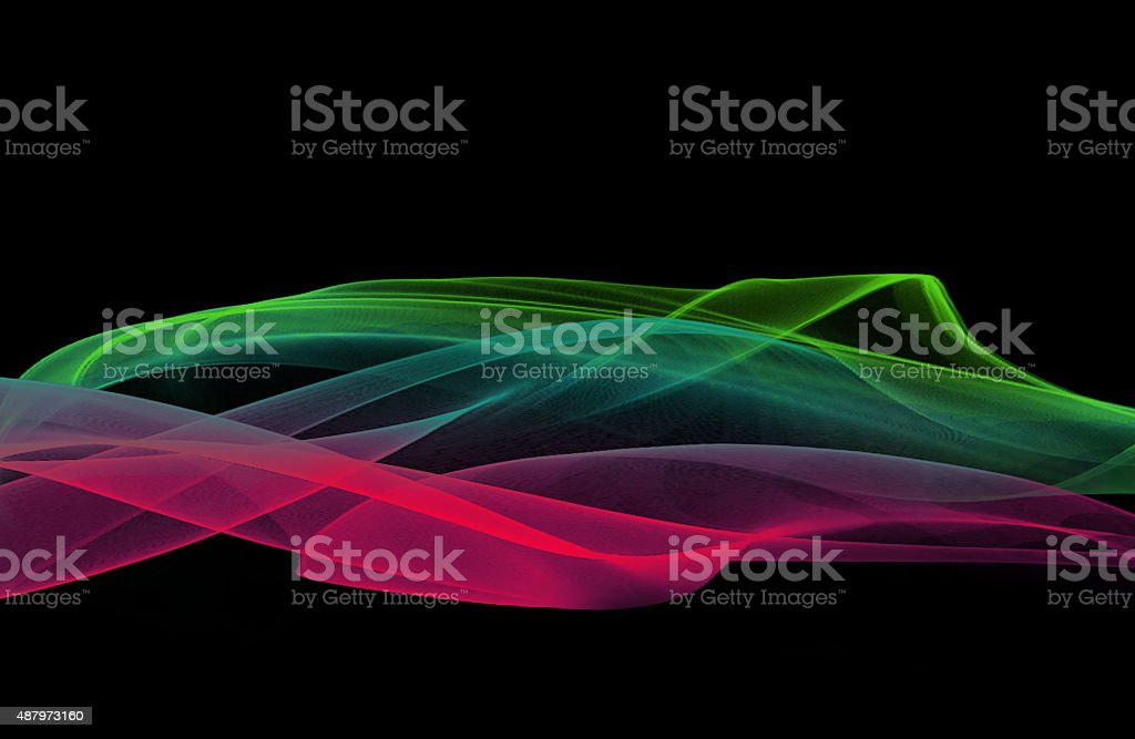 Colorful abstract smoke on black background vector art illustration