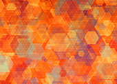 Colorful background, with hexagon pattern and orange geometric shapes