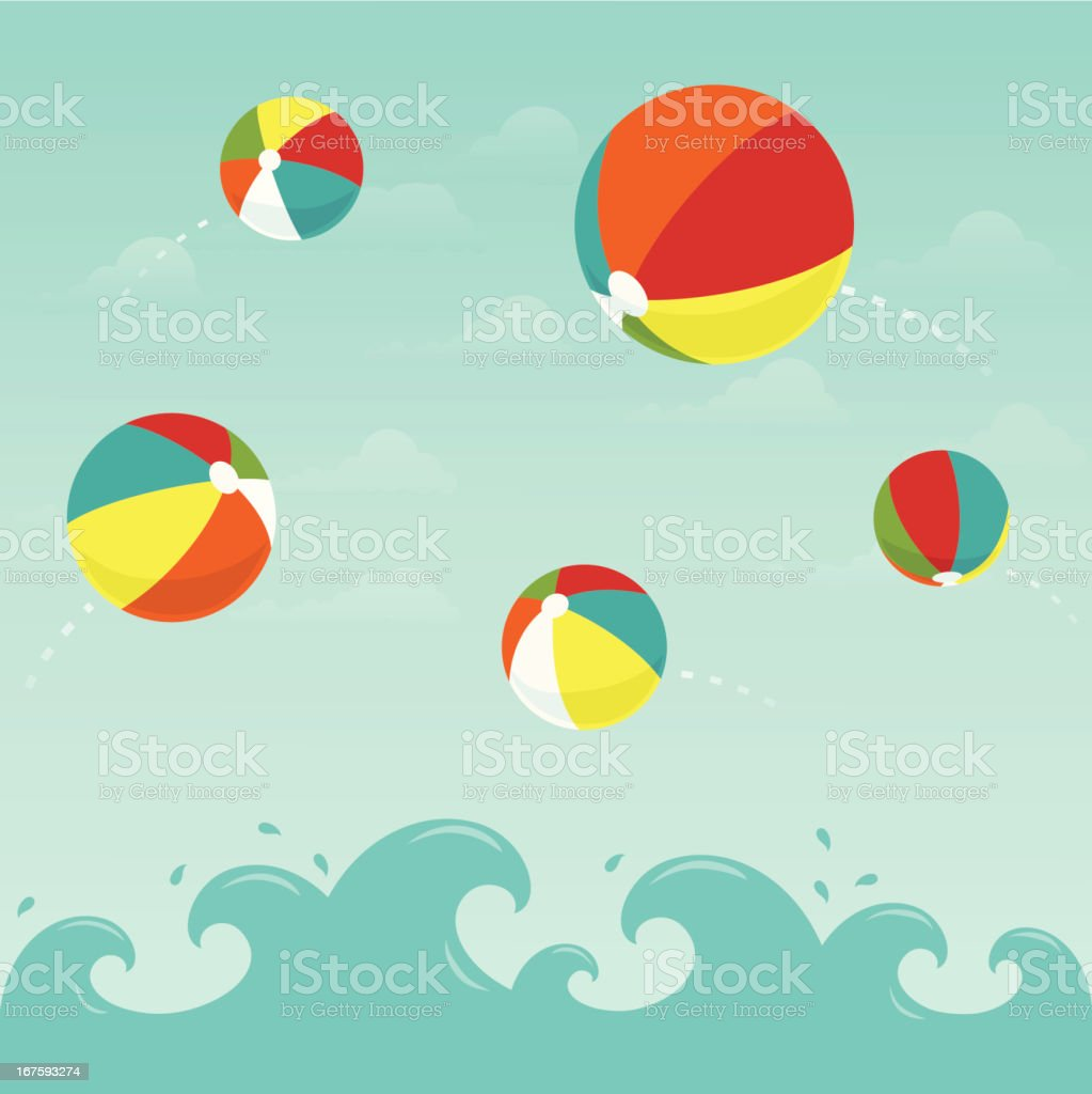 Colorful beach balls in the water vector art illustration