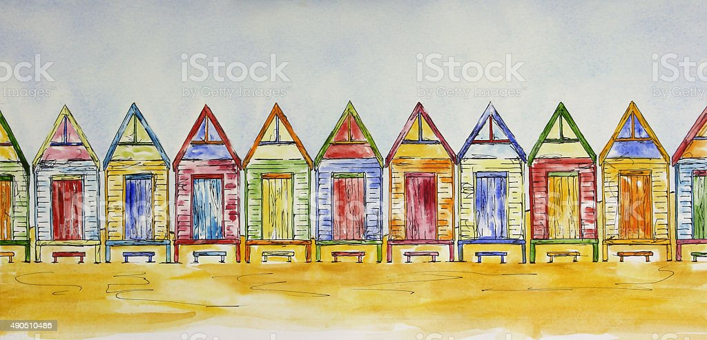 Colorful Beach Shacks in a Row Pen and Wash Painting vector art illustration