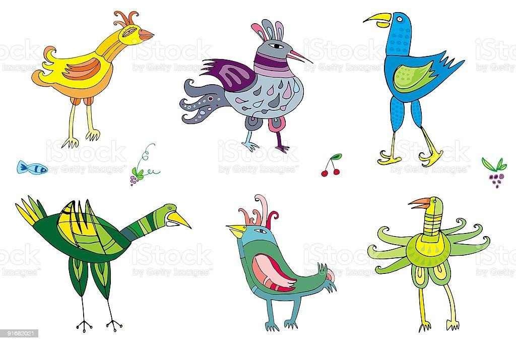 Colorful birds 2 royalty-free stock vector art