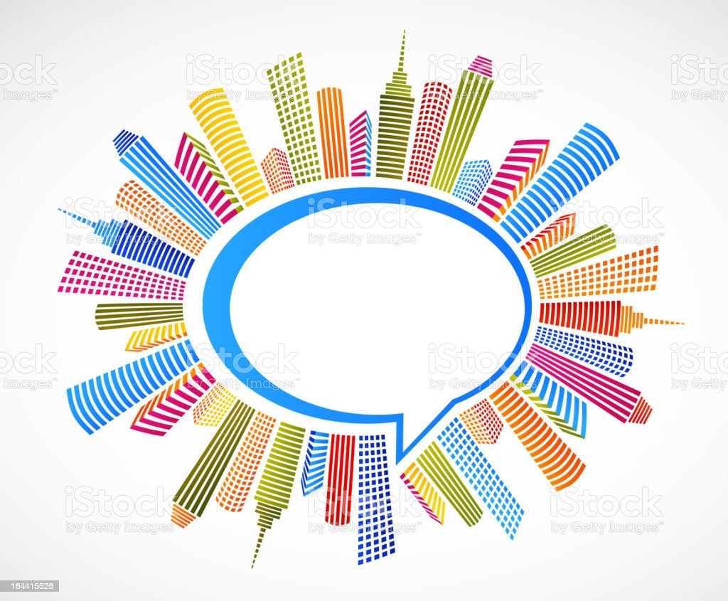 colorful city with speech bubble royalty-free stock vector art