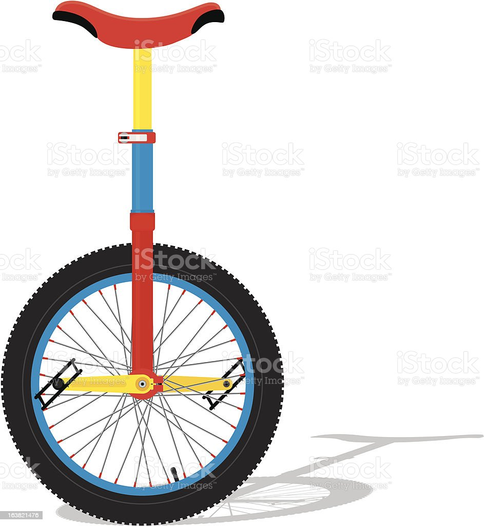 Colorful Clown Unicycle vector art illustration
