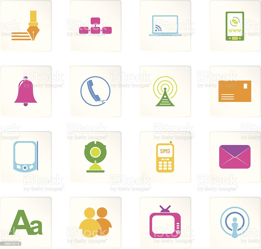 Colorful Communication Icons royalty-free stock vector art