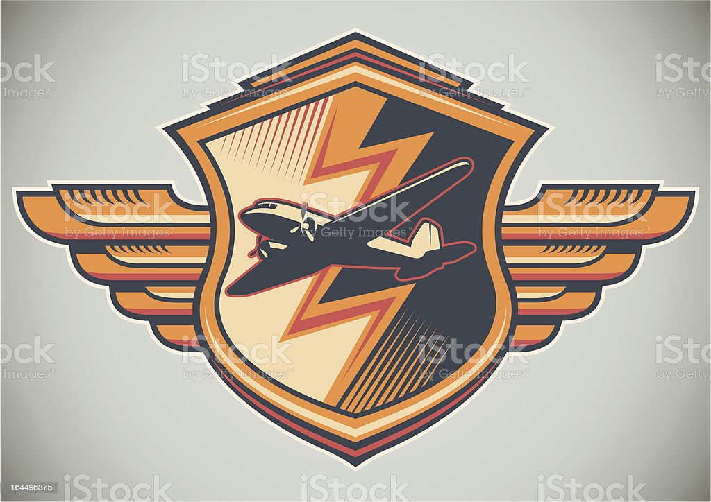 Colorful crest with airplane. royalty-free stock vector art