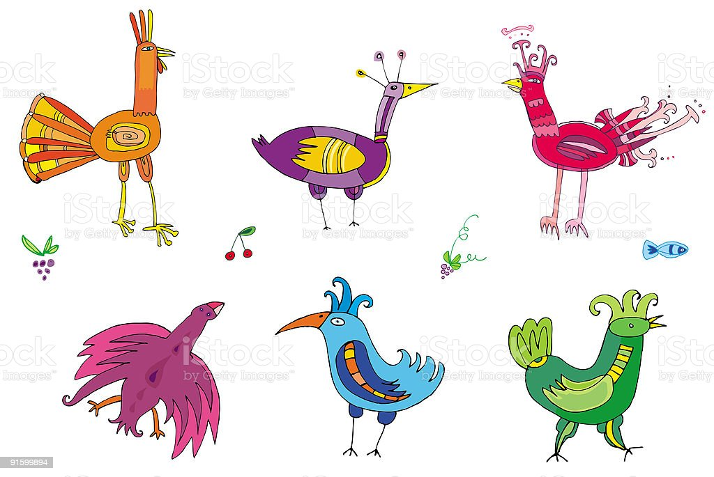 Colorful cute birds - set of characters royalty-free stock vector art