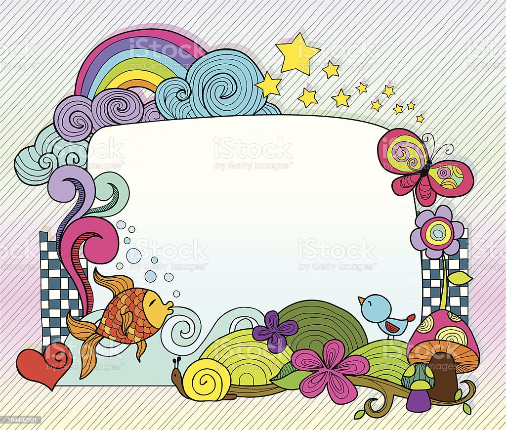 Colorful doodles frame royalty-free stock vector art