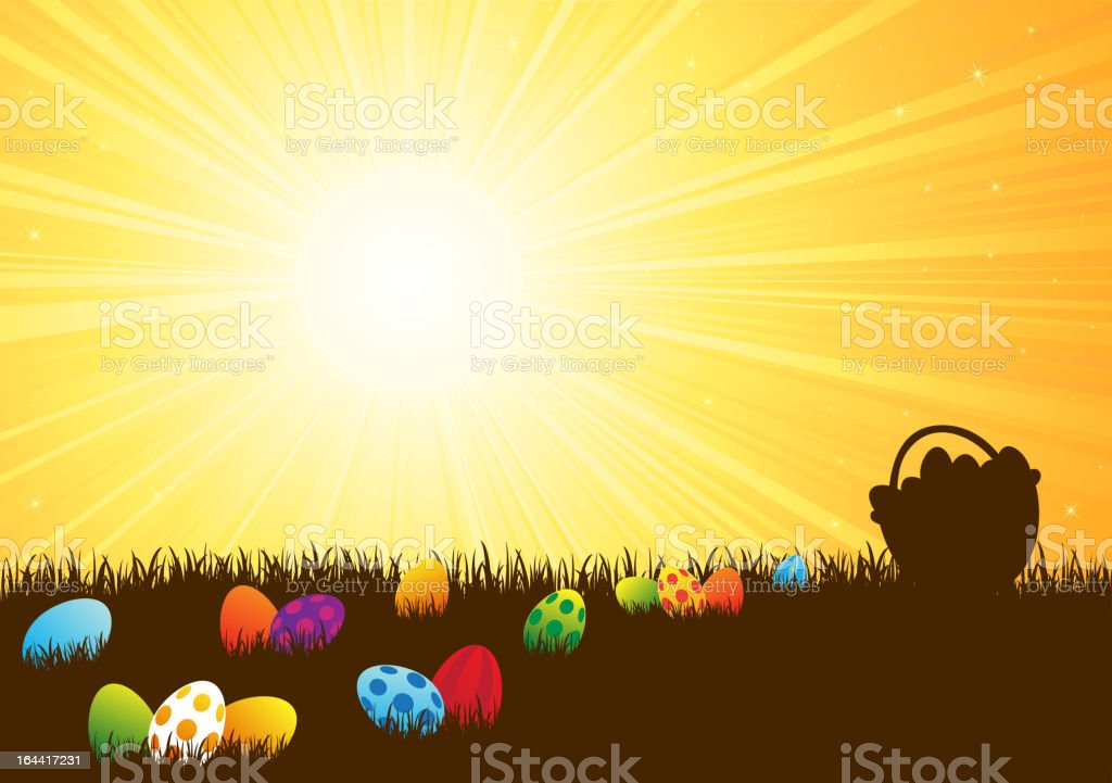 Colorful Easter eggs in the grass royalty-free stock vector art