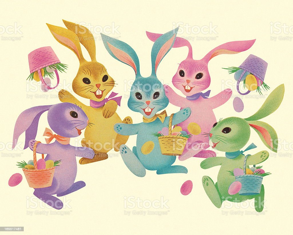 Colorful Easter Rabbits royalty-free stock vector art