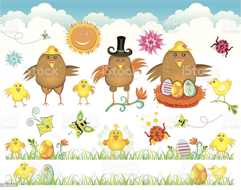 Colorful Easter Set - chicken family royalty-free stock vector art