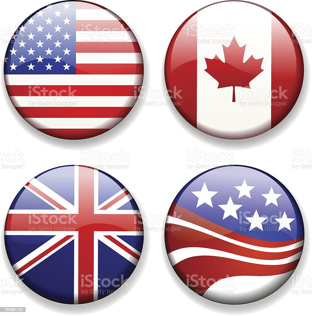 Colorful flag badges icons vector royalty-free stock vector art