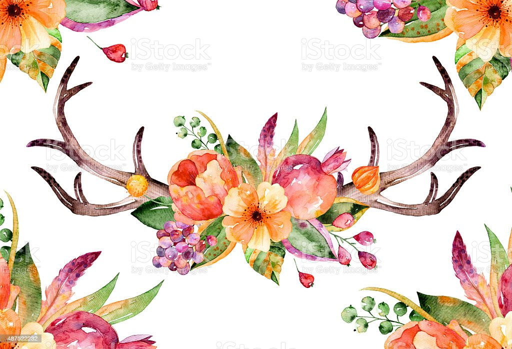 Colorful floral bouquet with leaves, horns and flowers, drawing watercolor vector art illustration