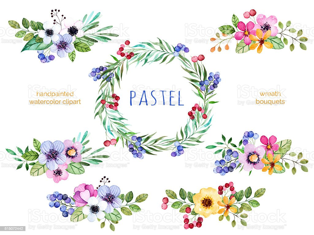 Colorful floral collection with bouquets and wreath vector art illustration