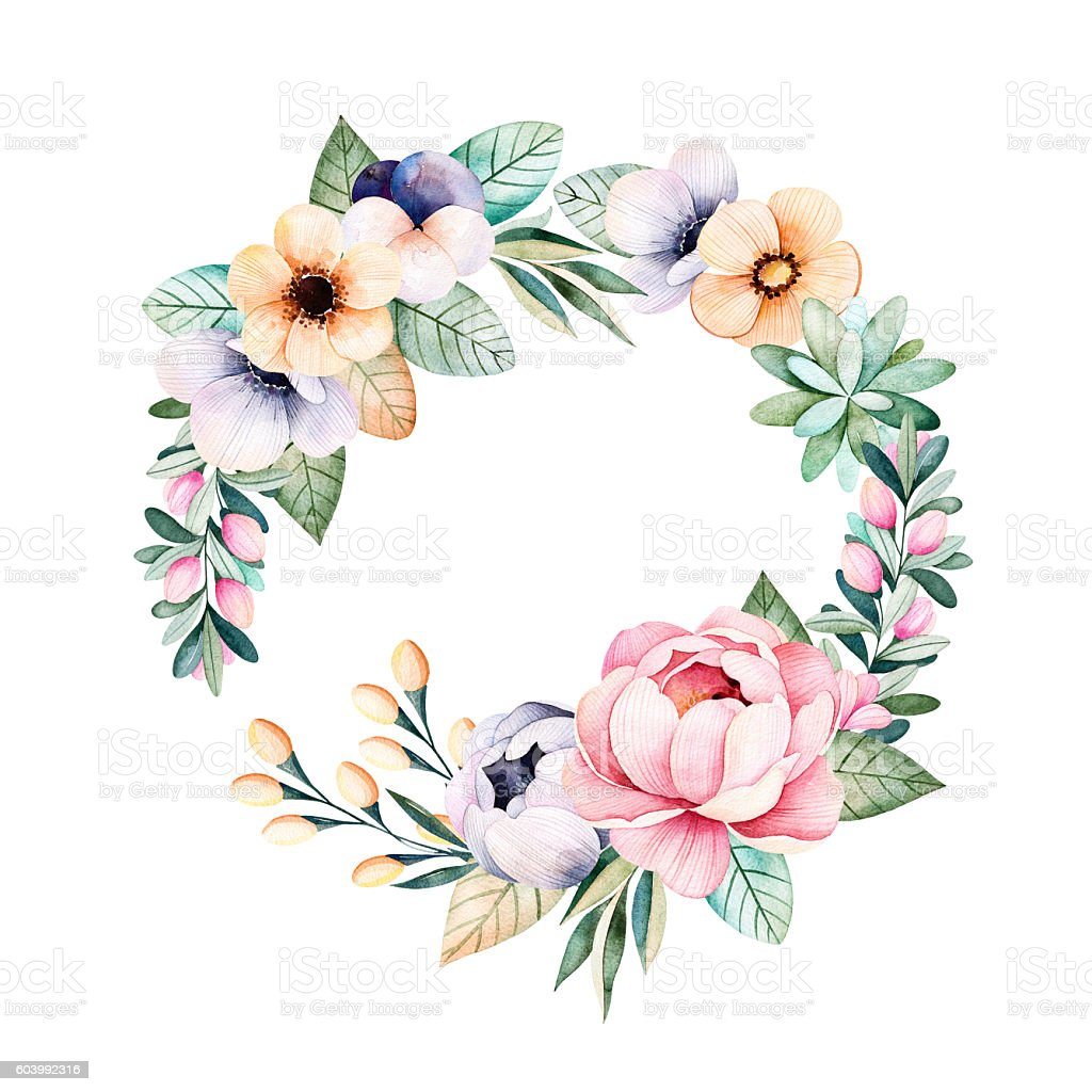 Colorful floral pastel wreath with roses,flowers,leaves,succulent plant vector art illustration