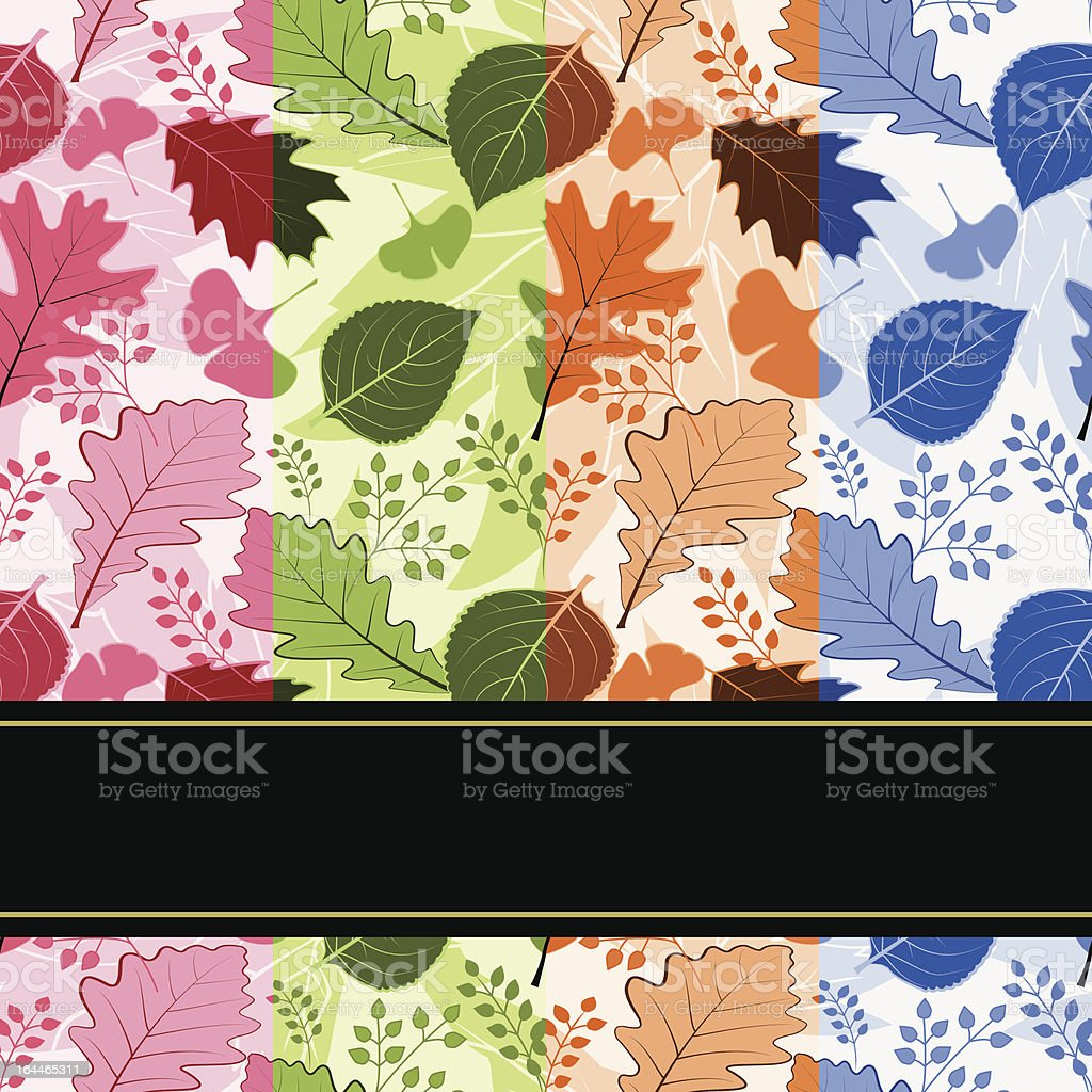 Colorful four season leaves seamless pattern royalty-free stock vector art