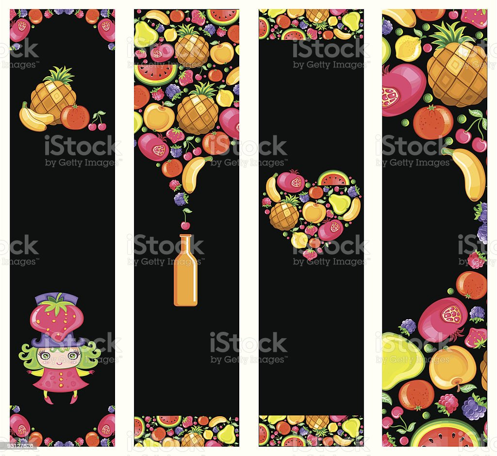 Colorful fruit banners royalty-free stock vector art