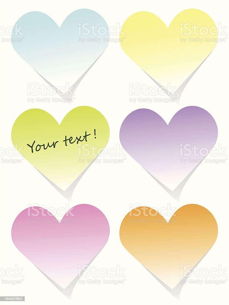 Colorful heart post-it set royalty-free stock vector art