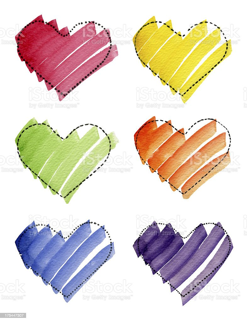 Colorful Hearts Watercolor on Paper (Clipping Path) royalty-free stock vector art